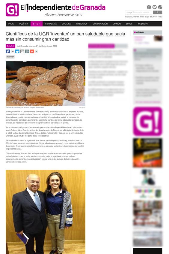 El Independiente de Granada Científicos de la UGR inventan un pan saludable que sacia más sin consumir gran cantidad - En los medios