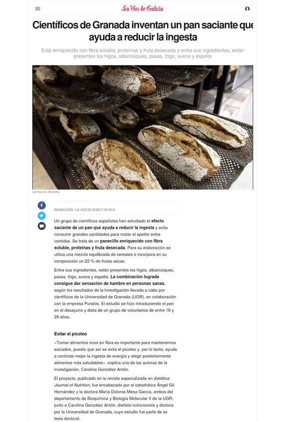 La Voz de Galicia Científicos de Granada inventan un pan saciante que ayuda a reducir la ingesta - En los medios