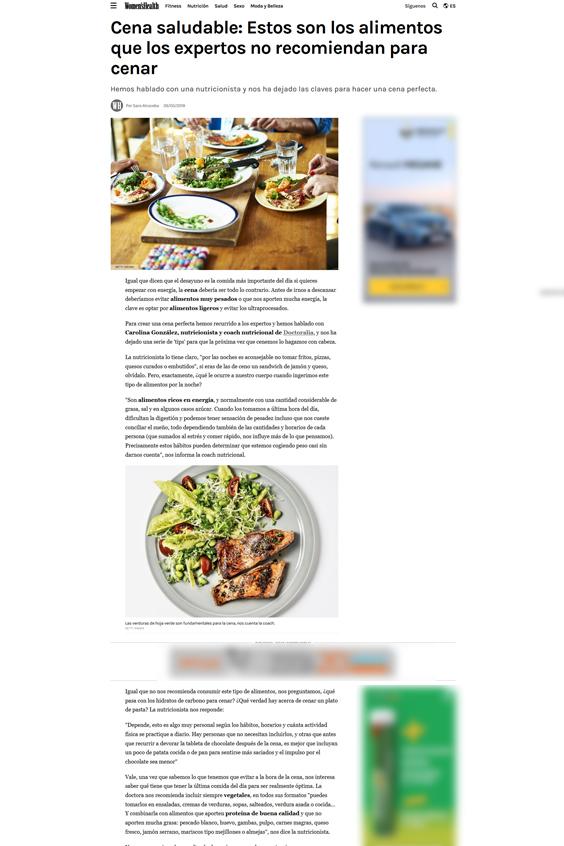 Womens Health Cena saludable Estos son los alimentos que los expertos no recomiendan para cenar - En los medios