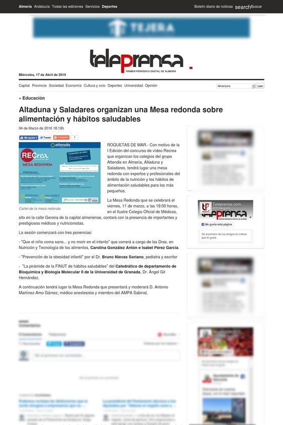 teleprensa Altaduna y Saladares organizan una Mesa redonda sobre alimentación y hábitos saludables - En los medios